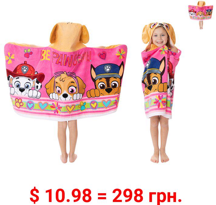 PAW Patrol Kids Bath and Beach Hooded Towel Wrap, 100% Cotton, Pink