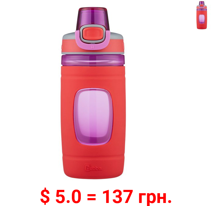 Bubba Kids Flo BPA-free Water Bottle with Silicone Sleeve with Wide Mouth, 16 Oz, Coral