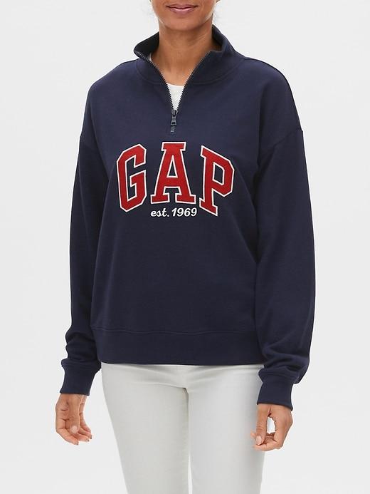 Half-Zip Logo Pullover Sweater