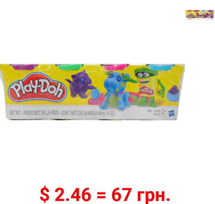 Play-Doh 4-Pack of 4-Ounce Cans (Assorted Colors), Ages 2 and up