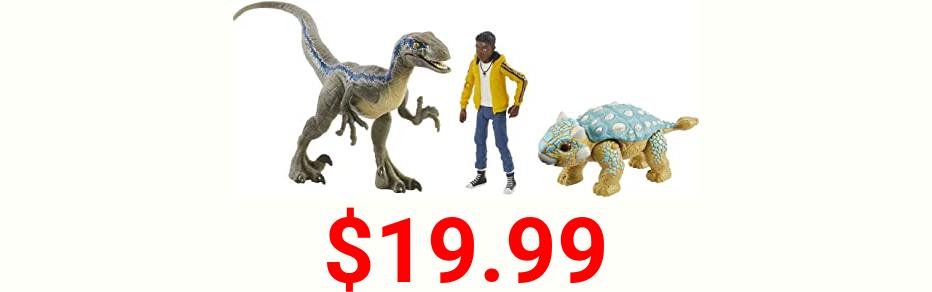 Jurassic World Darius Storypack with 3 Action Figures, Darius, Velociraptor Blue & Ankylosurus Bumpy, Camp Cretaceous Authentic Decoration & Movable Joints [Amazon Exclusive]