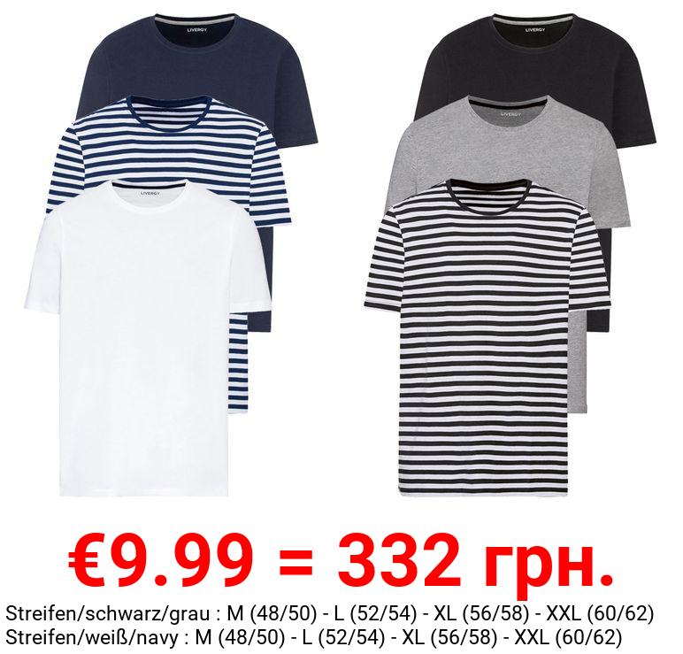 LIVERGY® T-Shirts Herren, 3 Stück