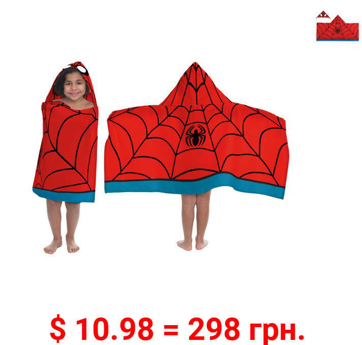 Marvel Ultimate Spiderman Red and Blue Hooded Towel, 1 Each