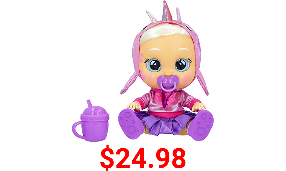 """Cry Babies Kiss Me Stella - 12"""" Baby Doll   Deluxe Blushing Cheeks Feature   Shimmery Changeable Outfit with Bonus Baby Bottle"""