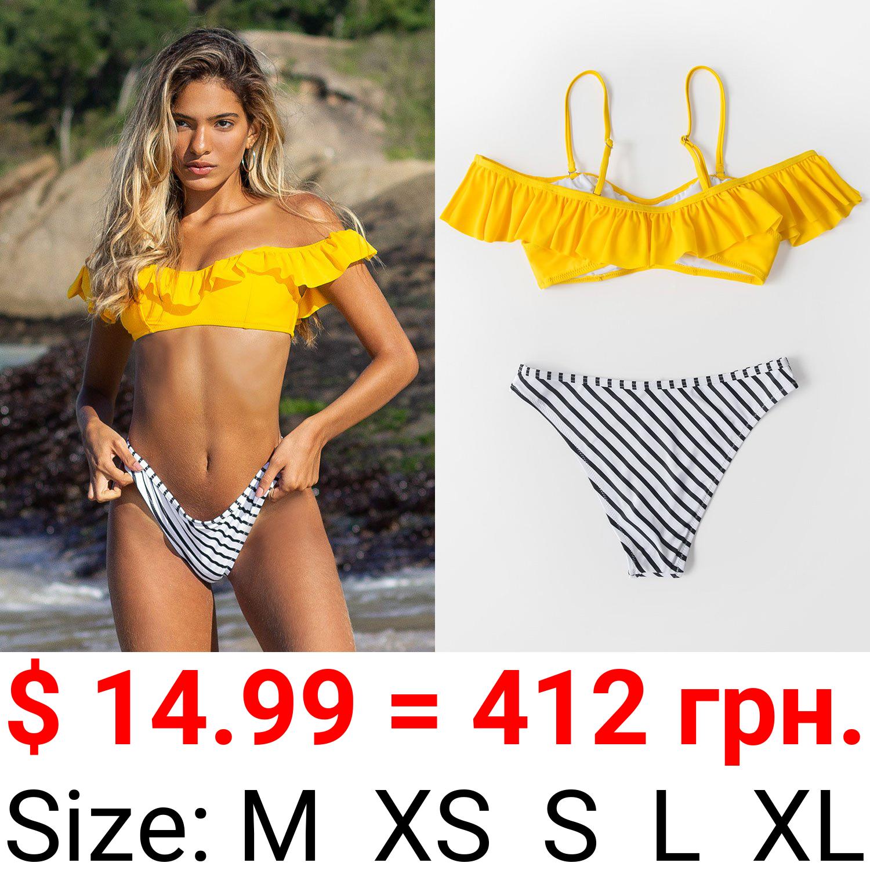 Yellow And Striped Ruffle Cold Shoulder Bikini