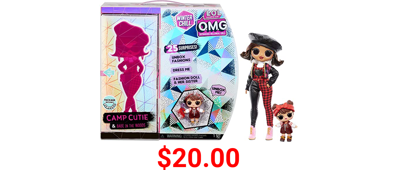LOL Surprise OMG Winter Chill Camp Cutie Fashion Doll & Sister Babe in The Woods Doll with 25 Surprises to UNbox - Clothes & Accessories with Reusable Playset for Kids Girls Ages 4+