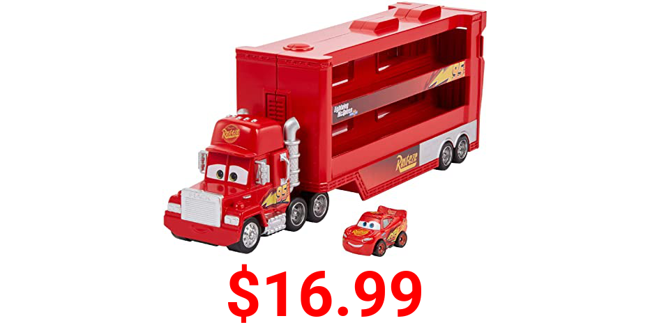 Disney Pixar Cars Disney Pixar Cars Minis Transporter with Vehicle, Kids Birthday Gift for Ages 4 Years and Older