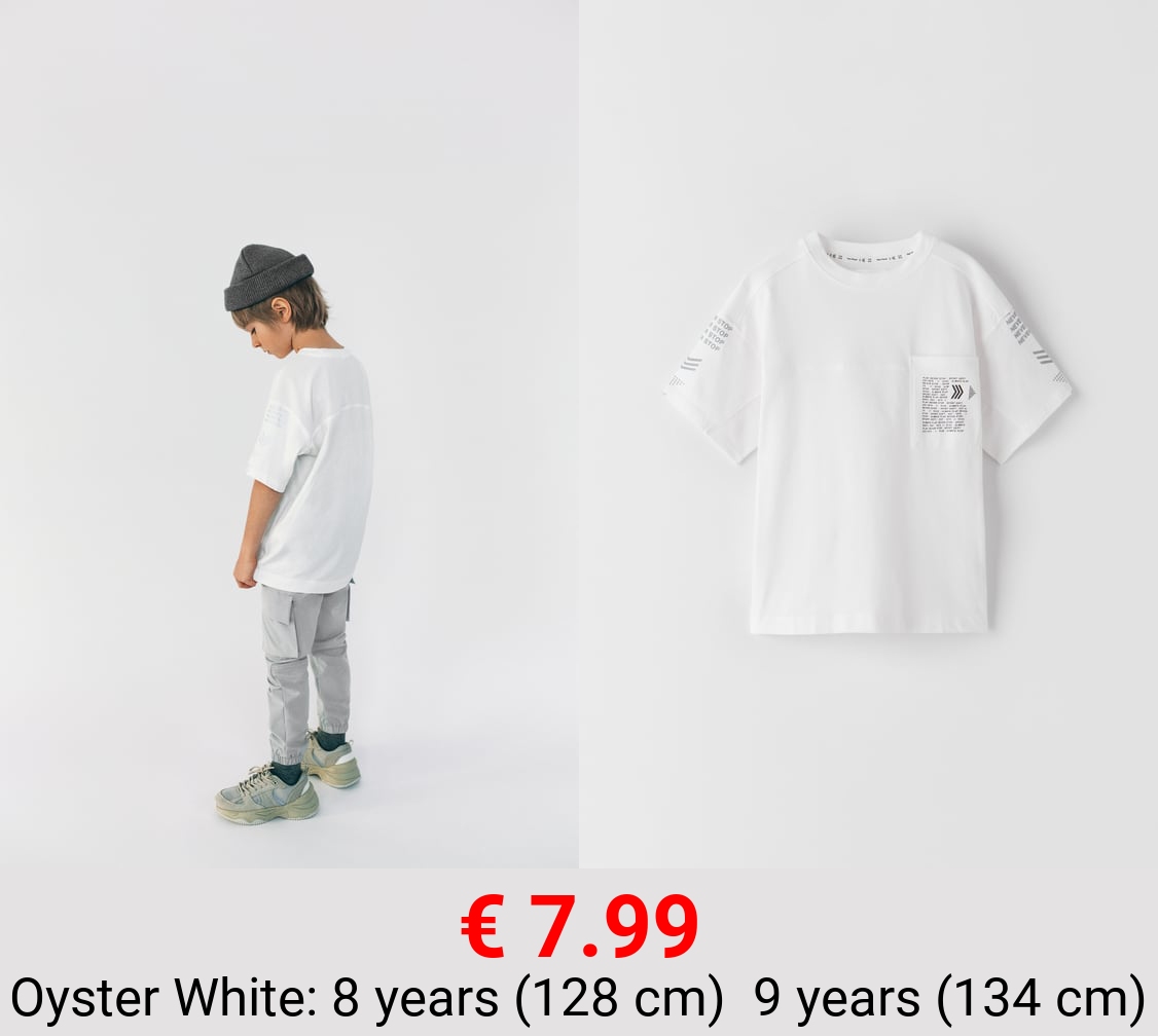 SPORTY T-SHIRT WITH REFLECTIVE SLEEVE DETAIL