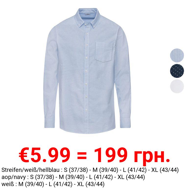 LIVERGY® Freizeithemd Herren, aus reiner Bio-Baumwolle