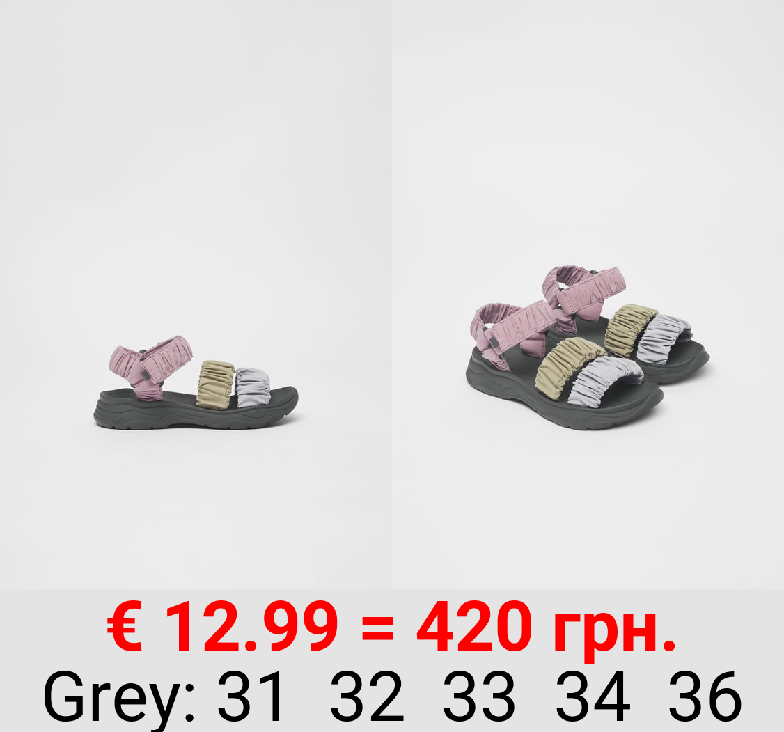 GATHERED TECHNICAL FABRIC SANDALS