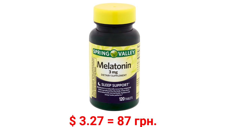 Spring Valley Sleep Support Melatonin Tablets, 3mg, 120 Ct