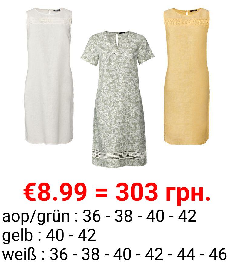 ESMARA® Kleid, mit Häkelspitze, seitliche Eingrifftaschen, aus reiner Leinenfaser