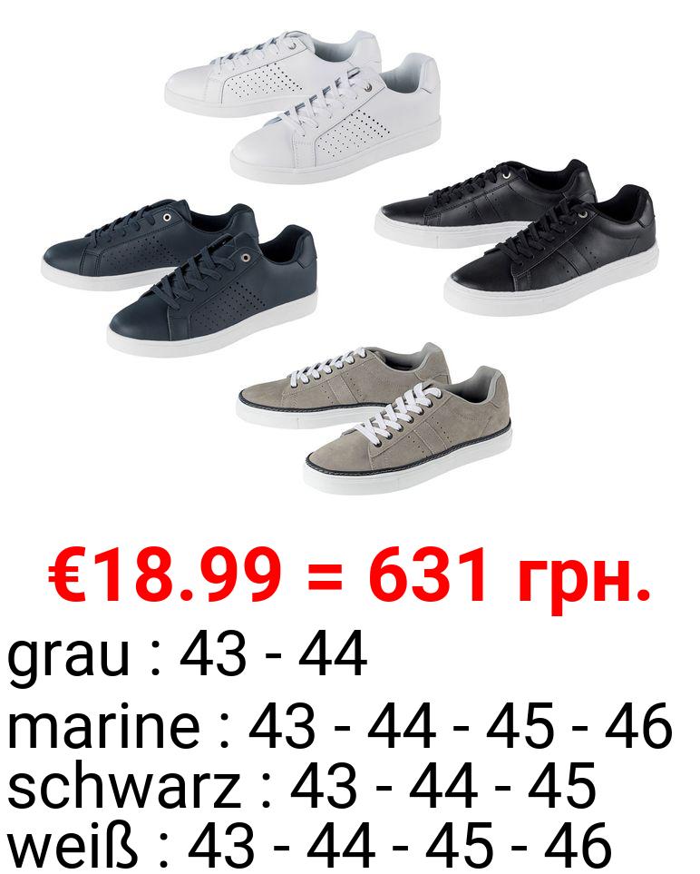 LIVERGY® Sneaker Herren, Lederdecksohle, Zungen- und Schaftrandpolsterung, TPR-Laufsohle