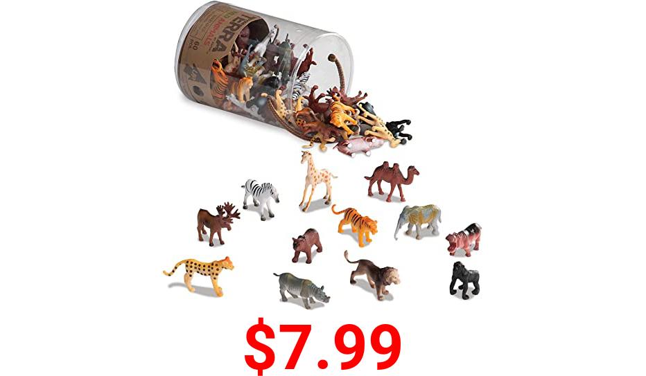 "Terra by Battat – Wild Animals – Assorted Miniature Wild Animal Toys For Kids 3+ (60 Pc) Multi, 2"""