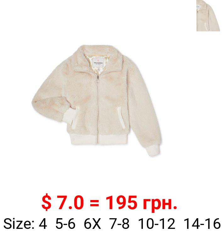 Urban Republic Girls Faux Fur Zip up Bomber Jacket, Sizes 7-16