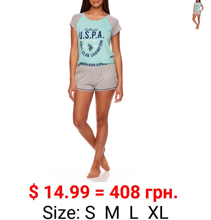 U.S. Polo Assn. Women's 2pc Short Sleeve Scoop-Neck Top and Pajama Short Set