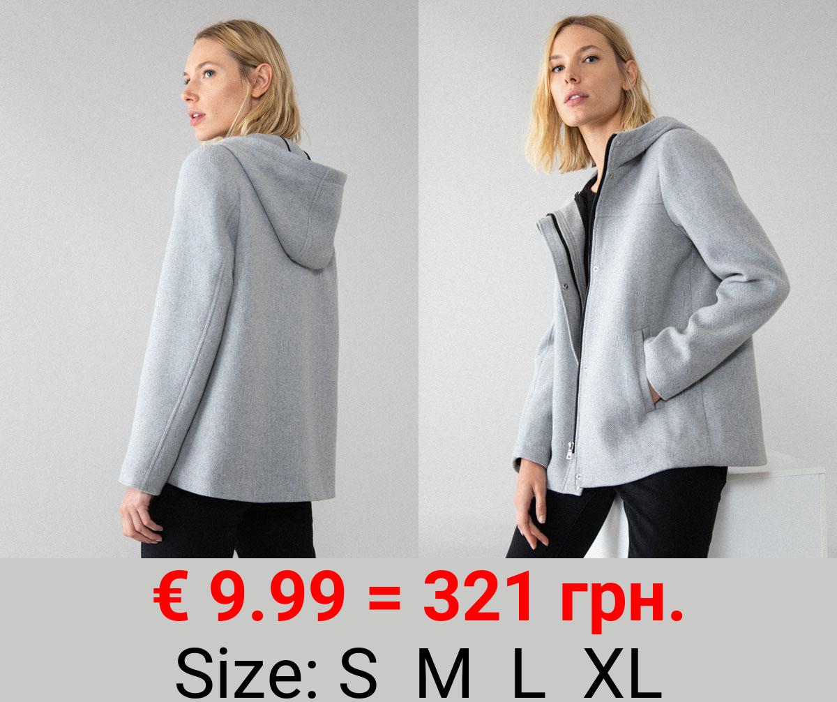 Basic long wool coat with hood