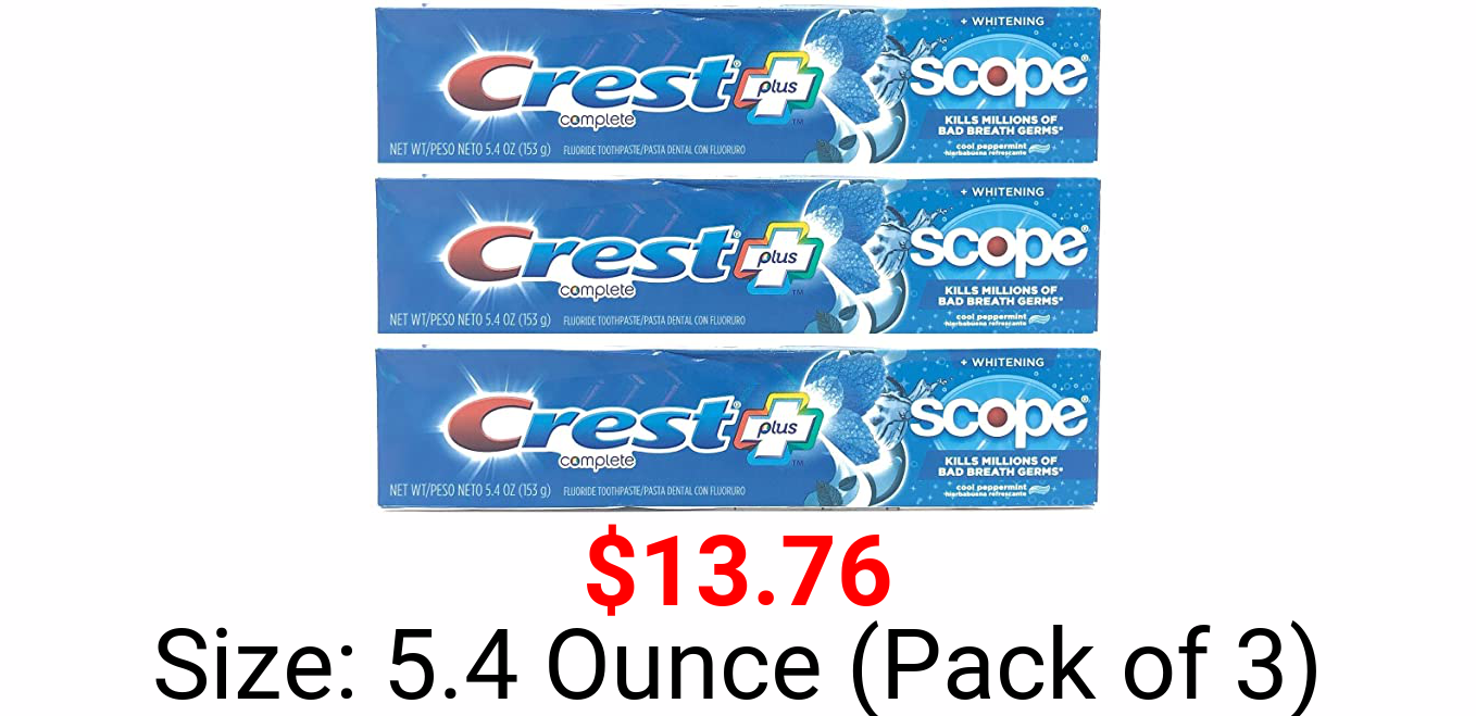 Crest Toothpaste 5.4 Ounce Plus Scope Whitening Peppermint (Pack of 3)