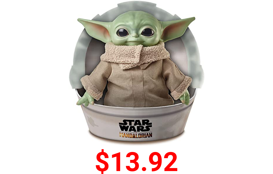 """Star Wars Grogu Plush Toy, 11-in """"The Child"""" from The Mandalorian, Collectible Stuffed Character for Movie Fans, Ages 3 Years and Older"""