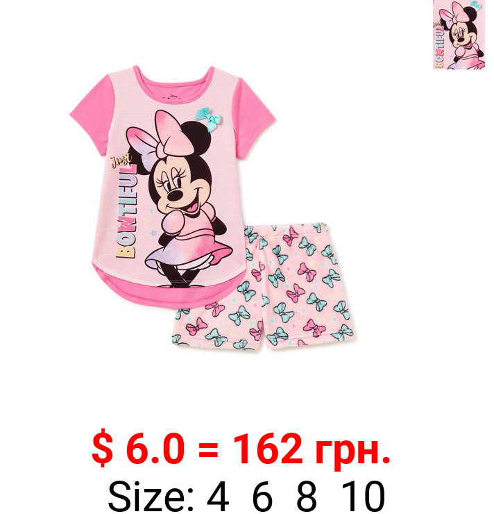 Minnie Mouse Girls' Top and Shorts Pajama Set, 2-Piece, Sizes 4-10