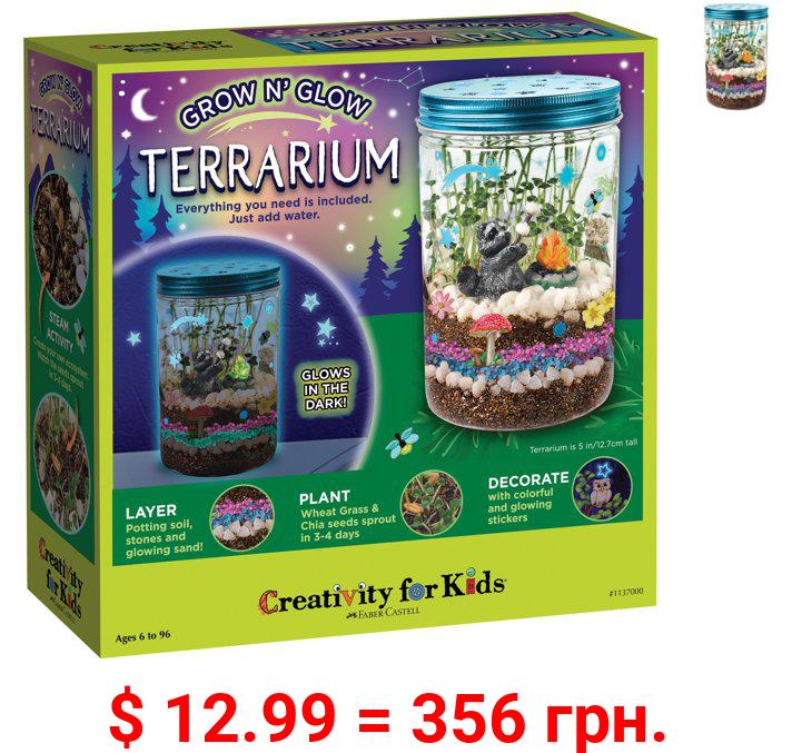 Creativity for Kids Grow N' Glow Terrarium –Child, Beginner Science Set for Boys and Girls
