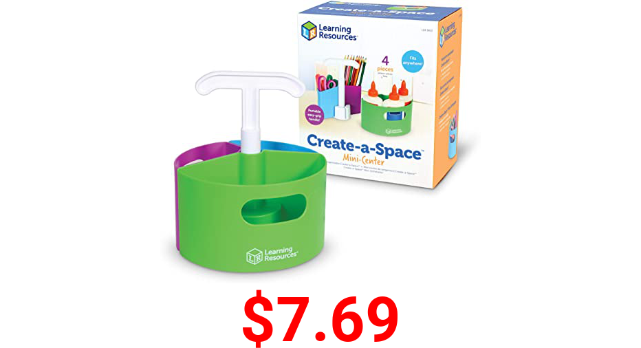 Learning Resources Create-a-Space Storage Mini Center, Back to School Resources for Teachers, Classroom Craft Keeper, Maker Space, Small Space Storage, Teacher Organizer, Home School Accessories, 4 Piece Set