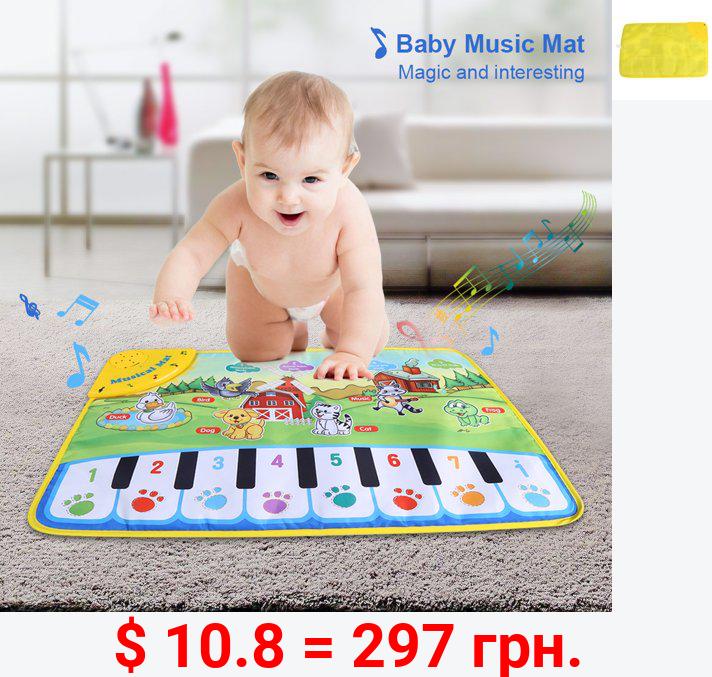 WALFRONT Baby Musical Mat Kids Piano Carpet Playmat Children Crawling Animal Blanket Educational Music Toy Boys Girls Birthday Christmas Gift
