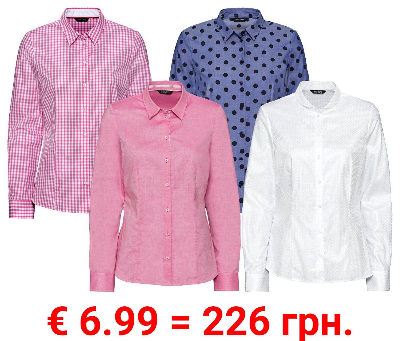 ESMARA® Bluse, mit Wendler-Einlagen für Kragen und Manschetten, aus reiner Baumwolle
