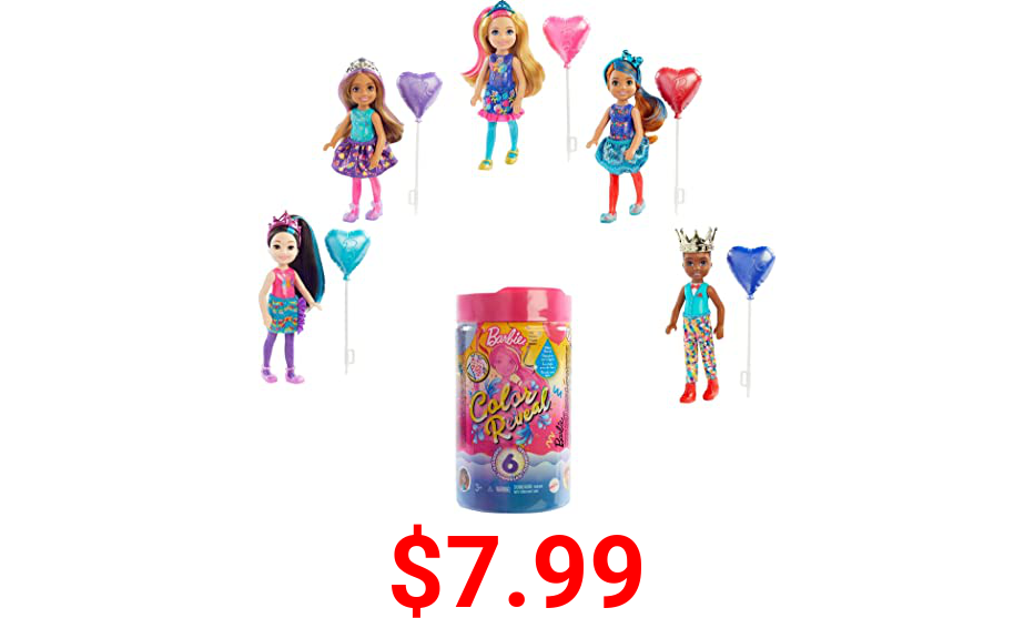 Barbie Chelsea Color Reveal Doll with 6 Surprises: 4 Bags Contain Skirt or Pants, Shoes, Tiara & Balloon Accessory; Water Reveals Confetti-Print Doll's Look & Color Change on Hair