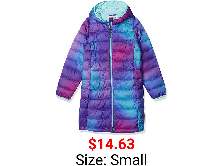 Amazon Essentials Girls Long Light-Weight Hooded Puffer
