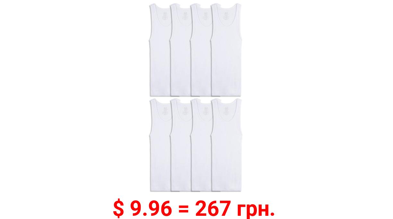 Fruit of the Loom Boys Undershirt, White Cotton A-Shirts, 5+3 Bonus Pack Sizes 6-20