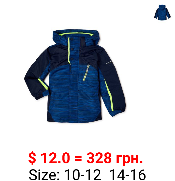 Swiss Alps Boys Space Dye Sk and Snowboard Jacket, Sizes 8-16