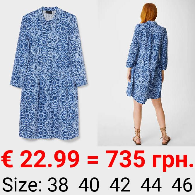 A-Linien Kleid - Leinen-Mix
