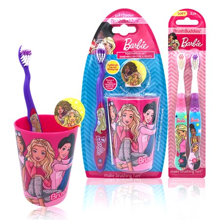 Barbie Happy Brushing Time Soft Bristle Toothbrush Gift Set - Manual Toothbrush, Cover Cap, Rinsing Cup, Extra brushes
