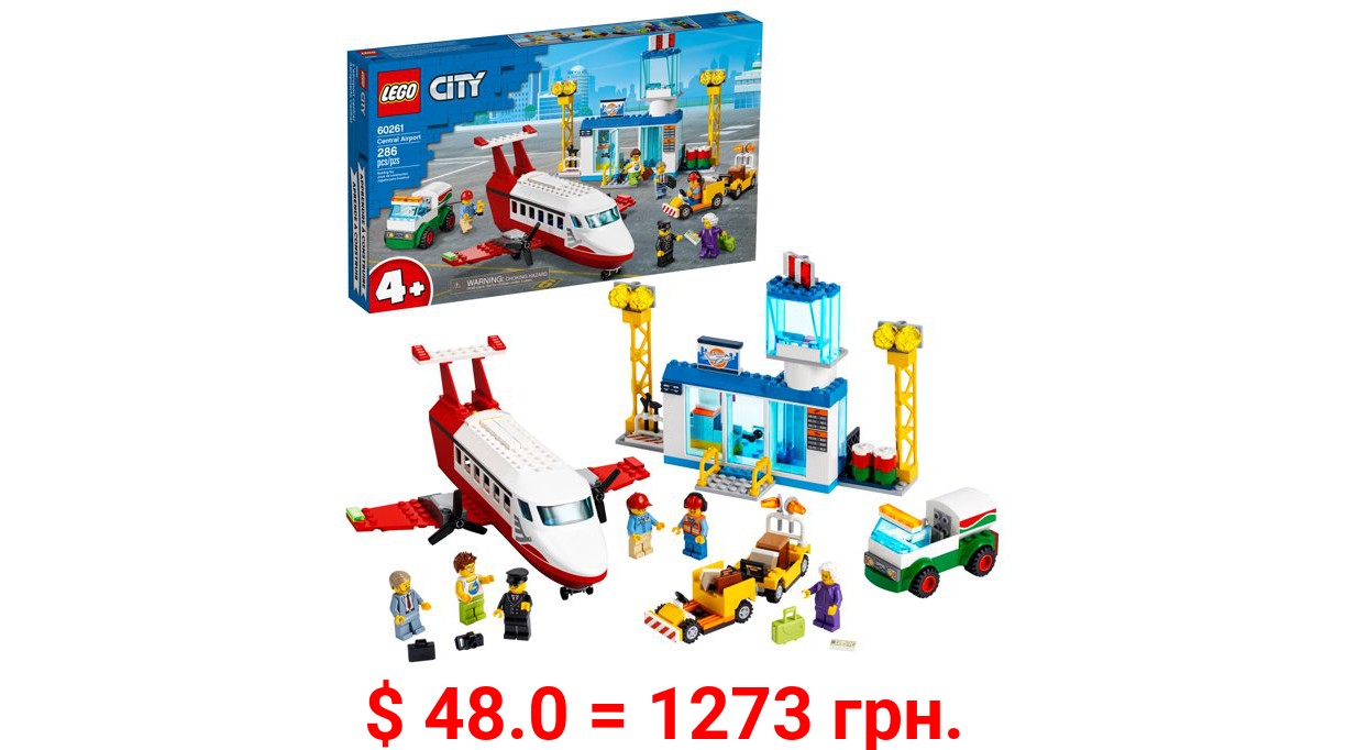 LEGO City Central Airport 60261 Building Toy for Kids Ages 4+ (286 Pieces)