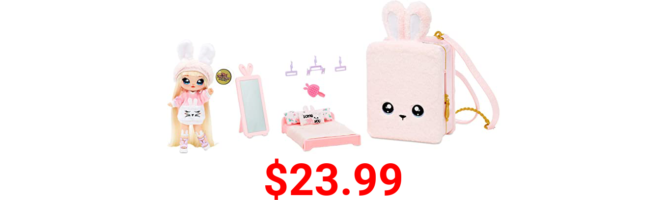 Na Na Na Surprise 3-in-1 Backpack Bedroom Playset With Limited Edition Aubrey Heart Doll In Exclusive Outfit   Pink Fuzzy Bunny Bag, Real Mirror, Closet with Drawer, Pillows, Blanket   Kids Ages 5+