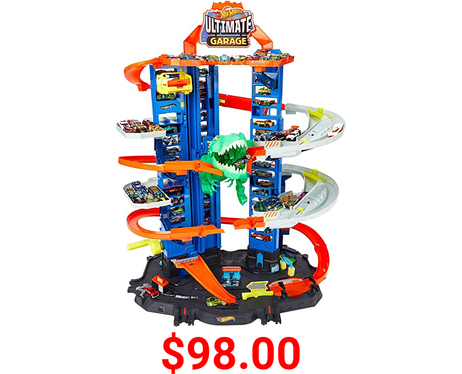 Hot Wheels City Robo T-Rex Ultimate Garage, Multi-level Multi-Play Mode, Stores 100 Plus 1:64 Scale Cars, Gift Idea for Kids 3 and Older