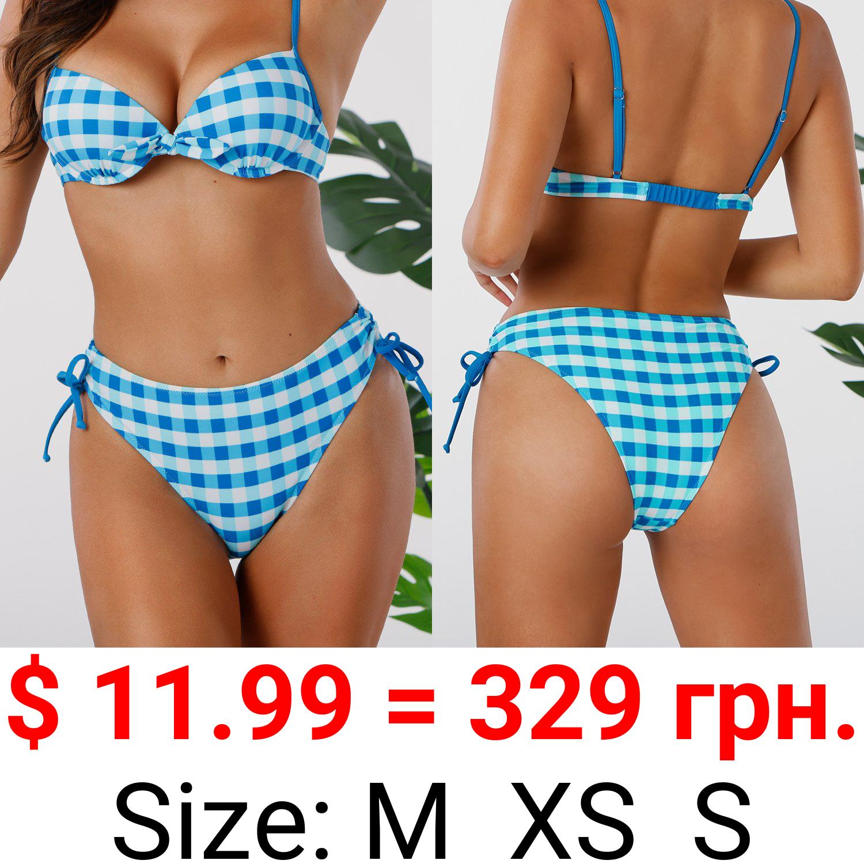 Blue And White Plaid Side Drawstring Bikini Bottom