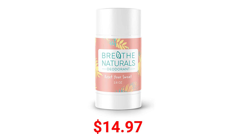 Breathe Naturals - 100% Natural Deodorant - (Grapefruit Lemon) - Vegan, Gluten Free, Cruelty Free - Free of Aluminum, Parabens & Sulfates - Made in the USA - Unisex - 2.6 oz - Safe for Sensitive Skin