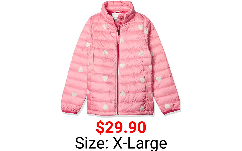 Amazon Essentials Girls' Light-Weight Water-Resistant Packable Mock Puffer Jackets