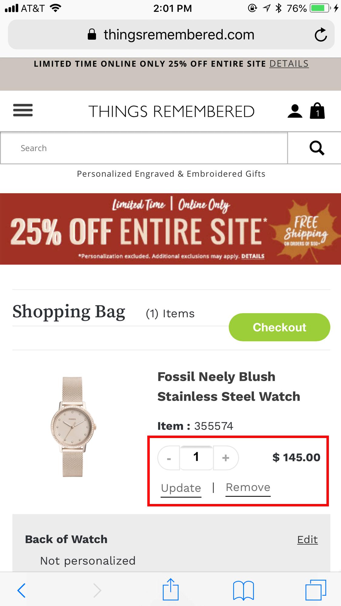ThingsRemembered.com: пользователи должны выбрать количество, а затем кнопку Обновить, чтобы изменить количество товара. Этот дизайн не оптимален.
