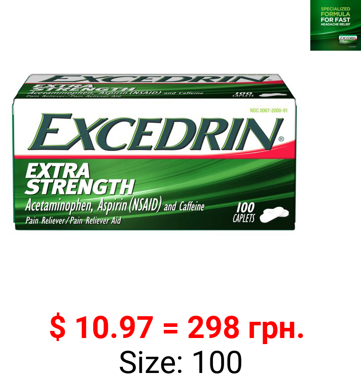 Excedrin Extra Strength Pain Reliever and Headache Medicine Caplets, 100 Count