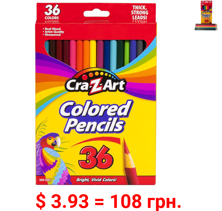 Cra-Z-Art Real Wood, Pre-Sharpened Strong Erasable School Colored Pencils, 36 Count, Beginner to Expert, All Ages