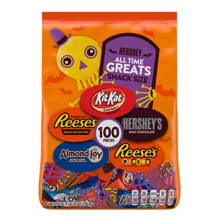 Hershey, Halloween Candy Assortment All Time Greats Snack Size, 100 Ct., 51.6 Oz.