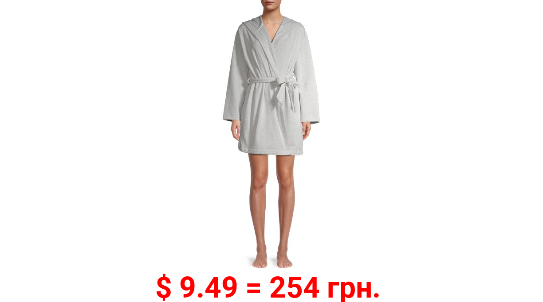 Jaclyn Apparel Women's Striped Hooded Wide Sleeve Robe