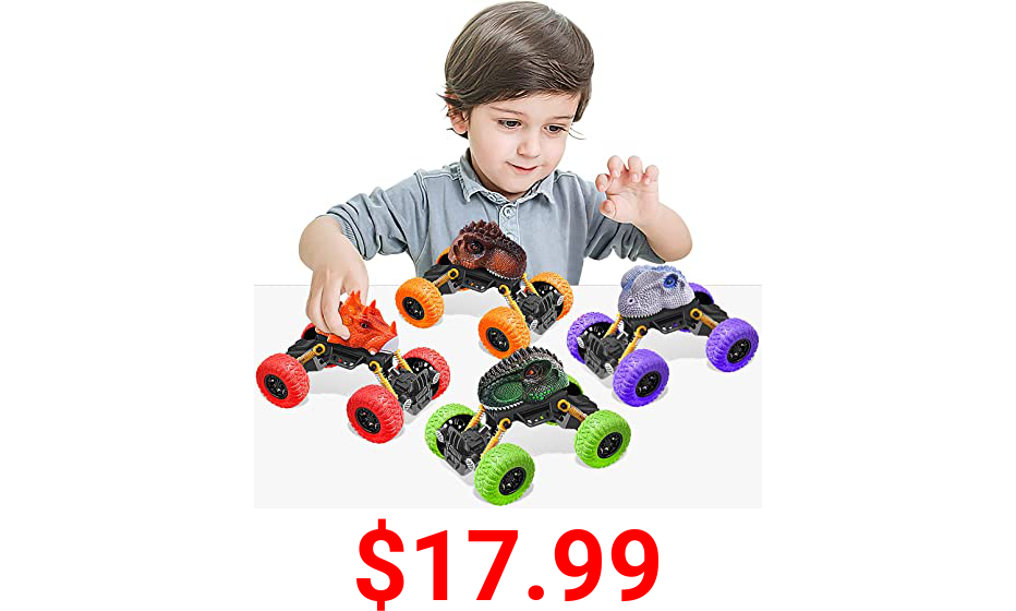 Large Size Dinosaur Toys for Boys Cars 4 Pack - Toys for 2 3 4 5 Year Old Boys Toys Gifts for 2 3 4 5 Year Old Boy Toys Age 2 3 4 5 Kids Toys for Boys Birthday Gifts Dinosaur Toys for Kids 3-5