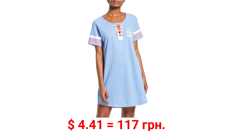 U.S. Polo Assn. Women's Short Sleeve Pajama Night Shirt Dress with Lace Up Tie Neckline