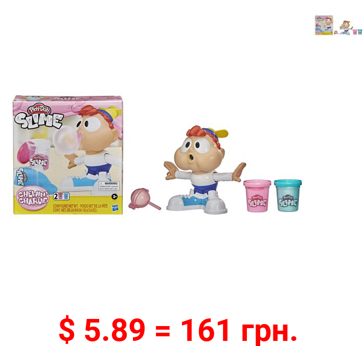 Play-Doh Slime Chewin' Charlie Slime Bubble Maker Toy, Includes 2 Cans of Compound