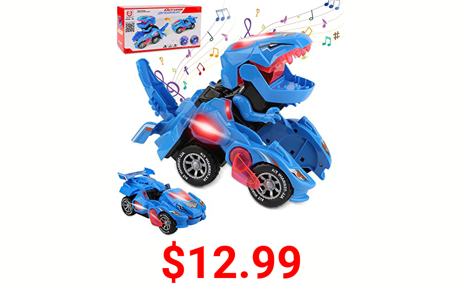 Rusee Transforming Dinosaur Toys, Transforming Dinosaur Car, Automatic Transform Dino Cars with Music and LED Light, Transform Car Toy for Kids Boys Girls Birthday Gifts (Blue)