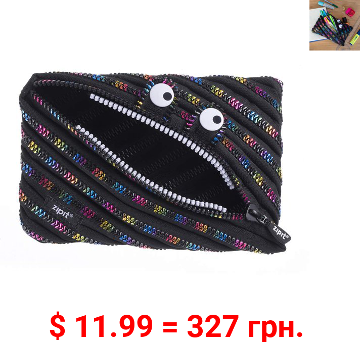 ZIPIT Monster Large Pencil Pouch for Kids, Holds up to 60 Pens, Made of One Long Zipper! (Black & Rainbow)